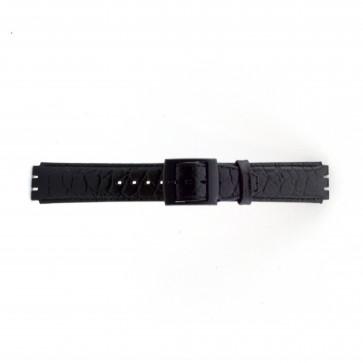 Pasek do zegarka Swatch SC10.01 Skórzany Czarny 17mm