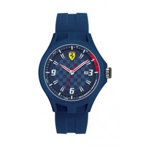 Ferrari horlogeband SF101.4 / 0830067 / SF689300097 / Scuderia Rubber Blauw 22mm