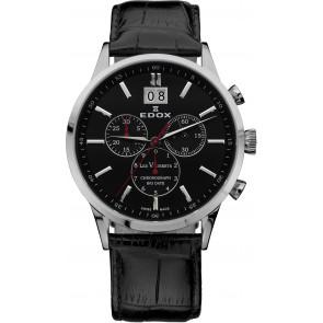 Pasek do zegarka Edox 10010-473282-222194 Skórzany Czarny 21mm
