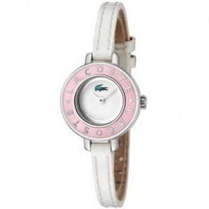 Lacoste horlogeband LC-15-3-14-0083 / 2000390 Leder Wit 6mm + wit stiksel