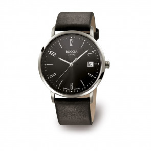 Pasek do zegarka Boccia 3557-02 Skórzany Czarny 21mm