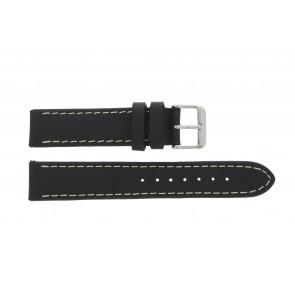 Horlogeband 61330.10.22XL Leder Zwart 22mm + bruin stiksel