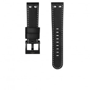 TW Steel horlogeband CEB107 Leder Zwart 22mm + wit stiksel