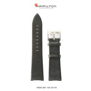 Pasek do zegarka Hamilton H38755731 Skórzany Czarny 22mm