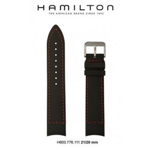 Pasek do zegarka Hamilton H776350 / H001.77.635.333.01 Skórzany Czarny 21mm