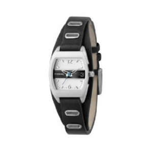 Fossil horlogeband JR9466 Leder Zwart 12mm + zwart stiksel