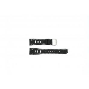 Lorus horlogeband 19x14 Leder Zwart 19mm + wit stiksel