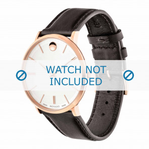 Movado horlogeband 0607089 Leder Donkerbruin 20mm + standaard stiksel