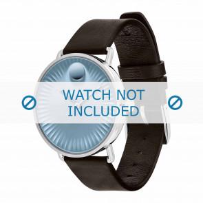 Movado horlogeband 3680040 Leder Donkerbruin 20mm