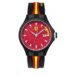 Pasek do zegarka Ferrari SF-01-1-47-0003 / SF689300008 / 0830009 Krzem Czarny 22mm