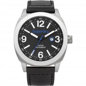 Pasek do zegarka Superdry SYG144BB Skórzany Czarny 24mm