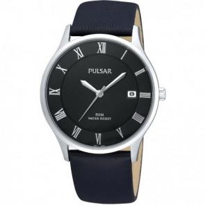 Horlogeband Pulsar VX42-X355 Leder Zwart 20mm