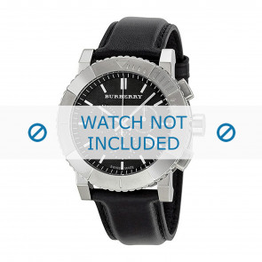 Burberry horlogeband BU2306 Leder Zwart 22mm + zwart stiksel