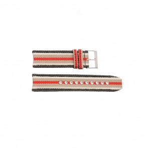 Burberry horlogeband BU7601 Leder Zwart 22mm + wit stiksel