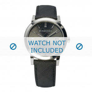 Burberry horlogeband BU9030 Leder Zwart + zwart stiksel