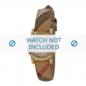 Burberry horlogeband BU9219 Leder Cream wit / Beige / Ivoor 14mm + bruin stiksel