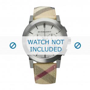 Burberry horlogeband BU9360 Leder Cream wit / Beige / Ivoor 20mm + wit stiksel