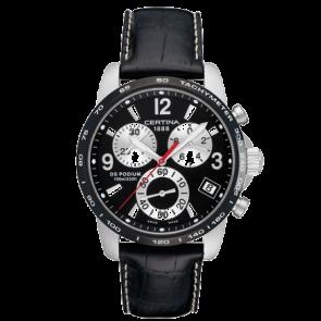 Certina horlogeband C610007731 / C536.7029.42.65 XL Leder Zwart 20mm + wit stiksel