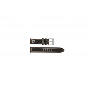 Camel horlogeband Active Leder Bruin 18mm + wit stiksel