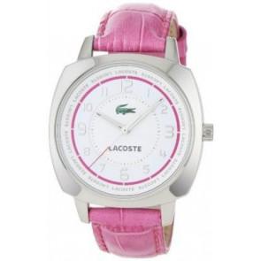 Pasek do zegarka Lacoste 2000599 / LC-47-3-14-2233 Croco skóra Różowy 18mm