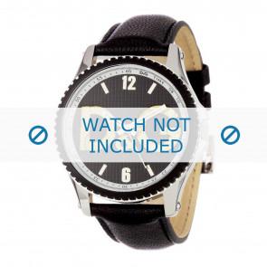 Dolce & Gabbana horlogeband DW0707 Leder Zwart 20mm + zwart stiksel