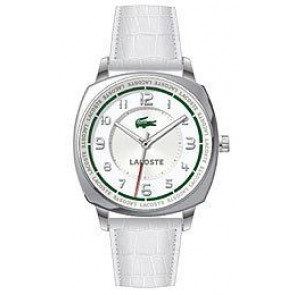 Pasek do zegarka Lacoste 2000598 / LC-47-3-14-2233 Croco skóra Biały 18mm