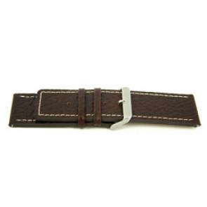 Prawdziwy Skóra Pasek Do Zegarka Brązowy Z Biały Szwy 30mm H79
