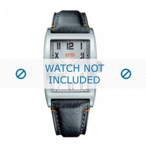 Hugo Boss horlogeband HB-33-1-14-2081 / HO1512307 Leder Zwart + oranje stiksel