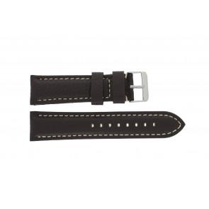 Horlogeband H038 XL Leder Donkerbruin 22mm + wit stiksel