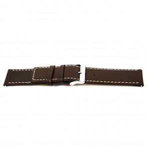 Horlogeband N310 Leder Donkerbruin 34mm + wit stiksel