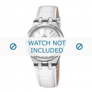 Jaguar horlogeband J674-1 / J674-7 Leder Wit + wit stiksel