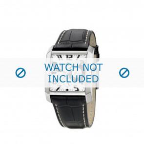 Lotus horlogeband 15411/2 / 15411/4 / 15411/A Leder Zwart + wit stiksel