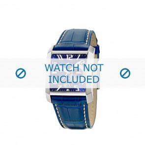 Lotus horlogeband 15411.3 Leder Blauw + wit stiksel