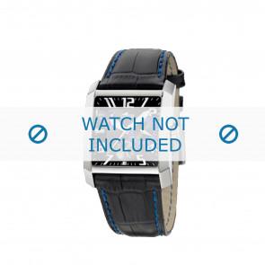 Lotus horlogeband 15411.6 Leder Zwart + blauw stiksel