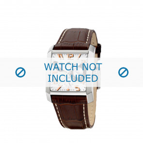 Lotus horlogeband 15411.8 Leder Bruin + wit stiksel