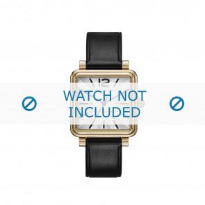 Marc by Marc Jacobs horlogeband MJ1437 Glad leder Zwart 16mm + zwart stiksel