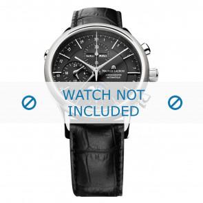 Maurice Lacroix horlogeband LC6078-SS001-331 Leder Zwart + zwart stiksel