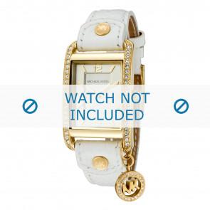 Michael Kors horlogeband MK2213 Taylor Leder Wit 18mm + wit stiksel