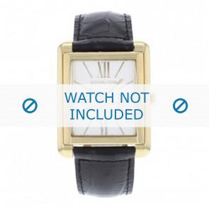 Michael Kors horlogeband MK2240 Leder Zwart 24mm + zwart stiksel