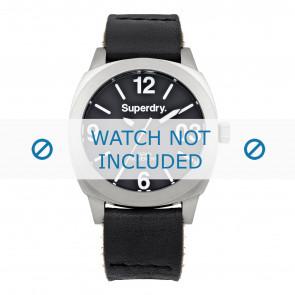 Pasek do zegarka Superdry SYL116B Skórzany Czarny 20mm