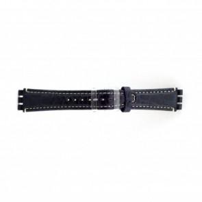 Prawdziwy Skóra Pasek Do Zegarka Dla Swatch Krokodyla Niebieski 19mm Es- 2.05
