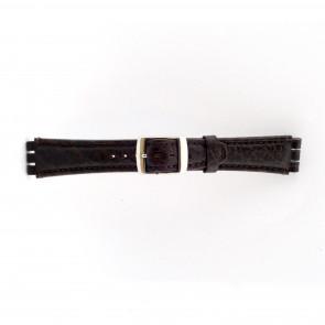 Strap Dla Swatch Prawdziwy Skóra Ciemny Brązowy 19mm 21412