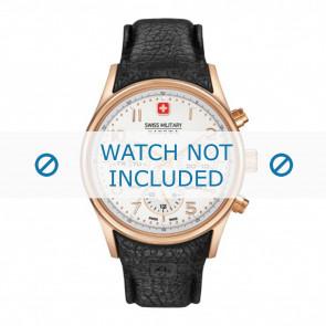 Pasek do zegarka Swiss Military Hanowa 06-4278.09.001-Rosé Buckle Skórzany Czarny 24mm