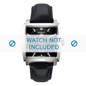 Tag Heuer horlogeband FC6171 Leder Zwart + zwart stiksel
