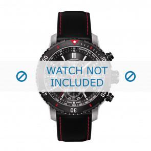 Tissot horlogeband T067.417.260.5100 T067417A - T610031781 Leder Zwart 19mm + rood stiksel