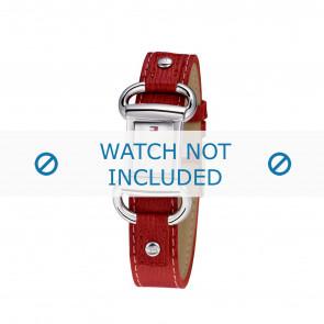 Tommy Hilfiger horlogeband TH-09-3-14-0613 / TH679300818 / TH1780621 Leder Rood + rood stiksel